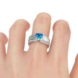 Unique Trillion Cut Sterling Silver Ring