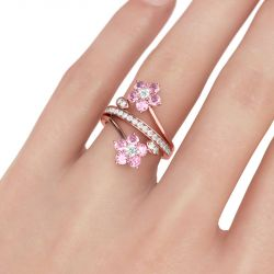 Rose Gold Tone Floral Round Cut Sterling Silver Ring