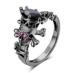 Jeulia Black Bone Skull Ring