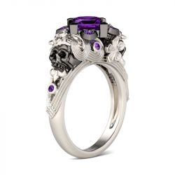 Flower Design Princess Cut Sterling Silver Skull Ring