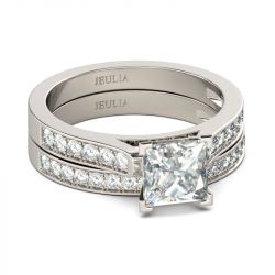 Exquisite Princess Cut Sterling Silver Ring Set