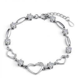 Heart Shape Sterling Silver Bracelet