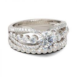 Split Shank Round Cut Sterling Silver Ring Set