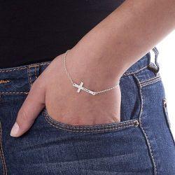 Engravable Side Cross Bracelet Sterling Silver