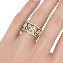 Round Cut Sterling Silver Elephant Ring