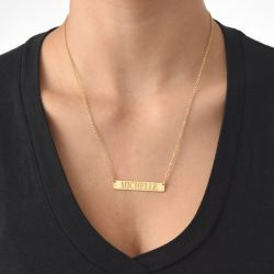 Gold Tone Engraved Bar Necklace Sterling Silver