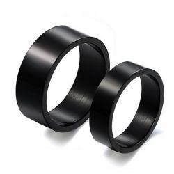 Simple Black Titanium Steel Couple Rings