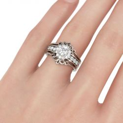 Halo Floral Round Cut Interchangeable Sterling Silver Ring Set