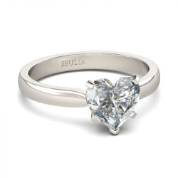 Solitaire Heart Cut Sterling Silver Promise Ring