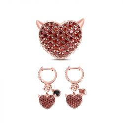 Rose Gold Tone Heart Sterling Silver Set