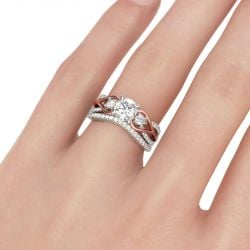 Three Stone Two Tone Round Cut Sterling Silver Ring Set