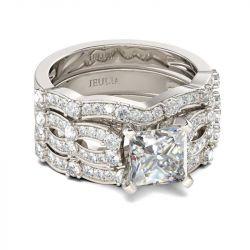 3PC Princess Cut Sterling Silver Ring Set