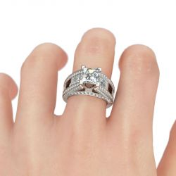 Cathedral Princess Cut Sterling Silver Women's Ring