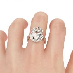 Polished Heart Shape Sterling Silver Claddagh Ring