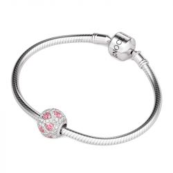 Delicate Crystal Heart Charm Sterling Silver