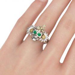 Jeulia Daisy Bee Sterling Silver Skull Ring