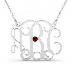 Monogram Necklace With One Birthstone Sterling Silver