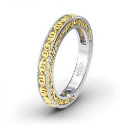 Two Tone Swirl Sterling Silver Ring Women's Band