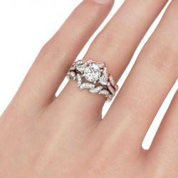 Three Stone Leaf Design Round Cut Sterling Silver Ring Set