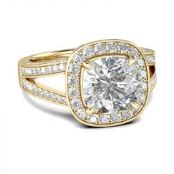 Gold Tone Halo Cushion Cut Sterling Silver Ring