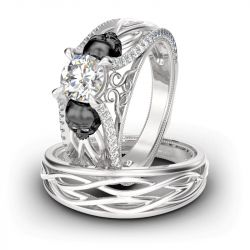 Two Tone Intertwined Round Cut Sterling Silver Skull Ring Set