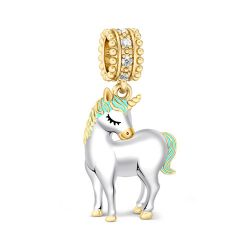 Two Tone Unicorn Charm Sterling Silver