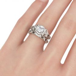 Milgrain Leaf Design Round Cut Sterling Silver Ring Set