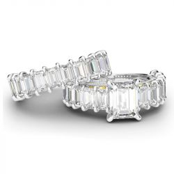 Two Tone Scrollwork Emerald Cut Sterling Silver Ring Set