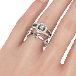 Jeulia Split Shank Sterling Silver Skull Ring Set