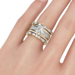 Vintage Marquise Cut Sterling Silver Ring Set