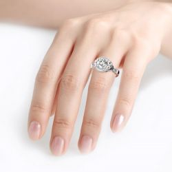 Halo Round Cut Heart Design Sterling Silver Skull Ring