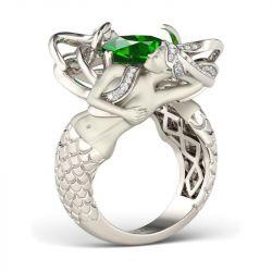 Green Cushion Cut Created Emerald Mermaid Ring