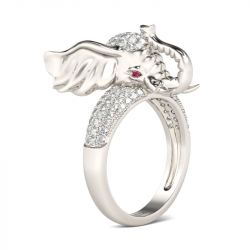 Pave Set Round Cut Sterling Silver Elephant Ring
