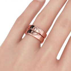 Rose Gold Tone Heart Design Sterling Silver Band Set