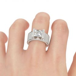 Wide Princess Cut Sterling Silver Ring