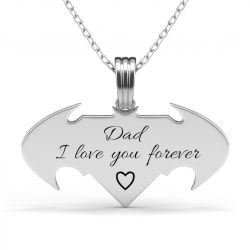 Batman and Superman Engraved Necklace For Men Sterling Silver