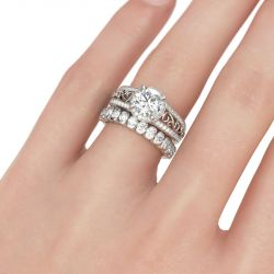 Halo Scrollwork Round Cut Sterling Silver Ring Set
