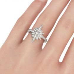 Star Design Round Cut Sterling Silver Ring
