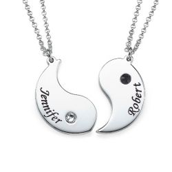 Engraved Couple Necklace With Birthstones Sterling Silver
