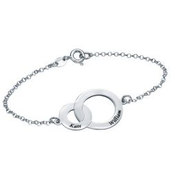Engravable Interlocking Circles Bracelet Sterling Silver