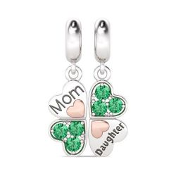 Heart to Heart Mom and Daughter Pendant Sterling Silver