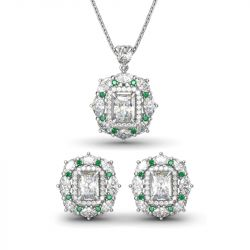 Double Halo Radiant Cut Sterling Silver Jewelry Set