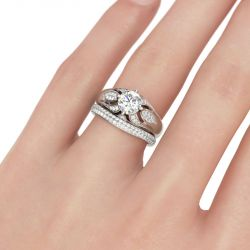 Leaf Design Round Cut Sterling Silver Ring Set