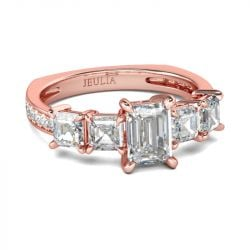Rose Gold Tone Emerald Cut Sterling Silver Ring