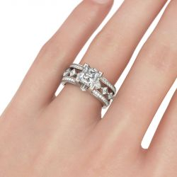 Geometrical Princess Cut Sterling Silver Ring Set