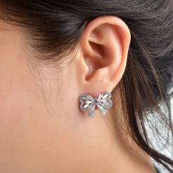 Bowknot Sterling Silver Stud Earrings