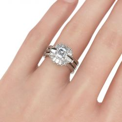 Modern Asscher Cut Interchangeable Sterling Silver Ring Set