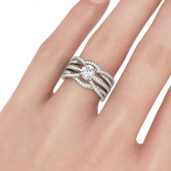 Crossover Round Cut Interchangeable Sterling Silver Ring Set