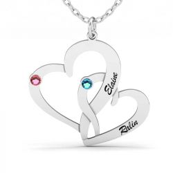 Loving Heart Engraved Necklace With Birthstones Sterling Silver
