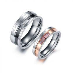 Engraved Two Tone Titanium Steel Couple Rings